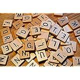 LeSB 100pcs Cartas de la letra Cartas de madera Juegos de los azulejos de Scrabble del