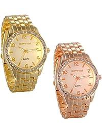 JewelryWe 2PCS Relojes de Hombre Dorado Relojes de Caballero, Diamantes Brillantes Correa de Acero Inoxidable