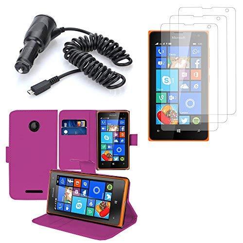 VCOMP Hülle Cover Etui Wallet-Etui Kunstleder Buch Klappe Halterung Video lila Microsoft Nokia Lumia 435/ 435 Dual-SIM- + 3 Filme Bildschirm übersichtlich + 1 Auto-Zigarettenanzünder-Ladegerät
