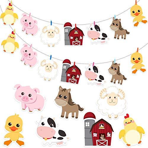 72 Stücke Bauernhof Tier Karton Ausschnitte mit Klebepunkten Set, Clips und Streicher für Bauernhof Tier Party Dekorationen und Zubehör, Bauernhof Tier Dekor für Baby Dusche