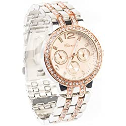 BHANOSY® Womens Quartz Analog Jewel Embedded Silver & Rose Gold Band Designer Choice