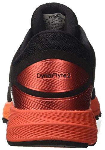 Asics Herren Dynaflyte 2 Laufschuhe Schwarz (Black/fiery Red/shocking Orange 9023)