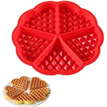 Ancaixin Molde Silicona Para Gofres Diseño de Corazón 4 Piezas Color Rojo