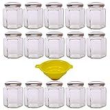 Viva Haushaltswaren - 15 x kleines Einmachglas 196 ml mit silberfarbenem Deckel, sechseckige Glasdosen als Marmeladengläser, Gewürzdosen, Gastgeschenk etc. verwendbar (inkl. Trichter)