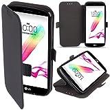 LG G4 Stylus Hülle Flip Case Schwarz - Moozy® Dünne