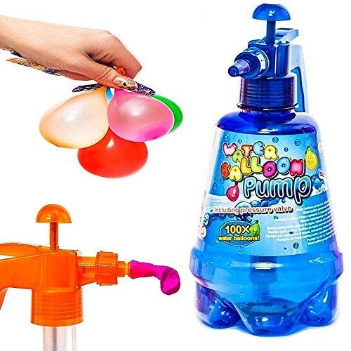 esto24- Wasserbomben Pumpe inkl. 200 Wasserballons und Einfüllhilfe für Wasserbomben 1,5 Liter Inhalt
