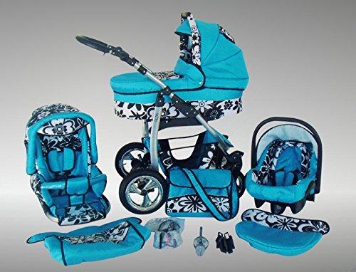 Chilly Kids Dino Kinderwagen Sommer-Set (Sonnenschirm, Autositz & Adapter, Regenschutz, Moskitonetz, Getränkehalter, Schwenkräder) 09 Blau & Schwarze Blumen