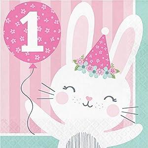 Creative Converting- Bunny Party Servilletas, Color rosa, (336053)