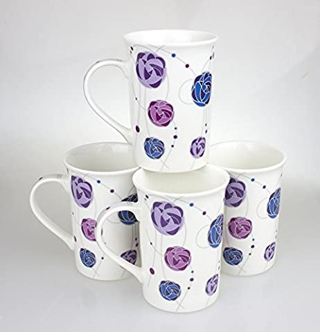 Set of 4 Matching China Mugs With Rennie Mackintosh Rose Design - By Yorkshire Giftware Limited by Yorkshire Giftware Limited