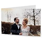 greetinks 100 x Dankeskarten zur Hochzeit 'Elegant' in Creme | Personalisierte Danksagungskarten zum selbst gestalten | 100 Stück Danksagung Karten