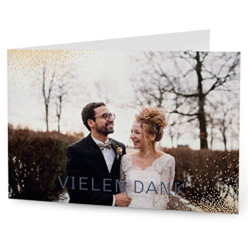greetinks 80 x Dankeskarten zur Hochzeit 'Elegant' in Creme | Personalisierte Danksagungskarten zum selbst gestalten | 80 Stück Danksagung Karten