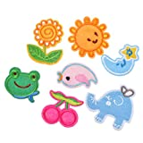 #6: Hexawata Mixed Flowers Birds Moon Embroidered Sew Iron On Applique Patch for DIY Crafts Pack of 7pcs