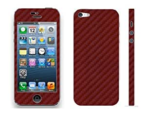 Autocollant vinyle sticker skin fibre de carbone Iphone 5, color dark red