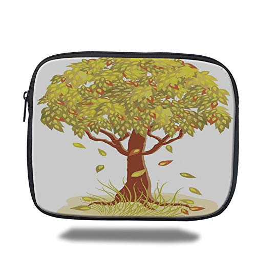 Tablet Bag for Ipad air 2/3/4/mini 9.7 inch,Tree of Life,Single Autumn Tree with Falling Leaves Season Symbol Fall Design Art Living Decorative,Green Brown,Bag - Zwei Pocket Case Top-loading