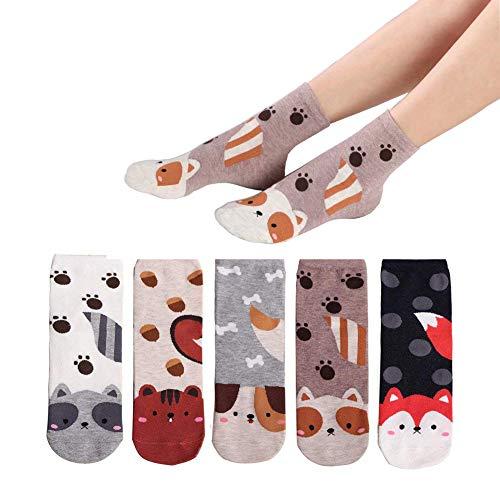 MAKFORT Lustige Socken Damen Tier Muster Niedlich Baumwolle Sneaker Socken Kuschelsocken Damen Warme Socken Frauen Thermal Lässige Socken 5 Paar, 5 Tiptoe Puppy, Einheitsgröße