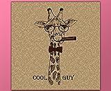deinebilder24 Wand-Bilder auf Leinwand - 60 x 60 cm - lustige Giraffe mit Brille, Fliege und Zigarre, Cool Guy Schrift