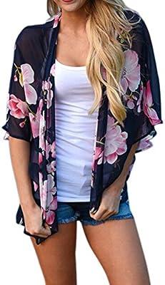 NINGNETI Las Mujeres De Gasa Con Estampado Floral De Kimono Suelto Chal Cardigan Top Playa Cubrir La Blusa