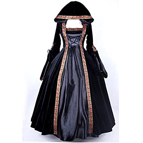 Cosplayitem Women's Medieval Dress Gothic Victorian Costume Fancy Palace Masquerade Dresses Long Sleeve Queen Princess