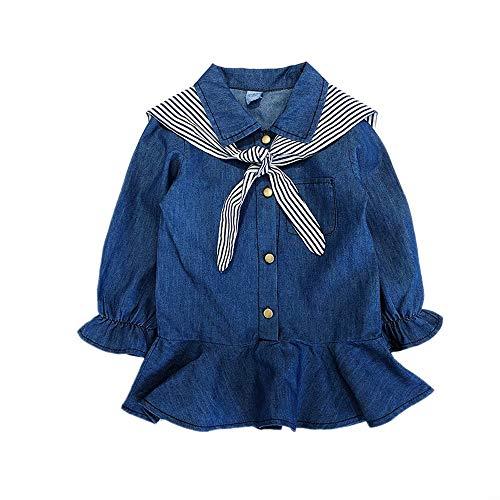 Kobay Baby Kleider für Mädchen Denim Stripe Princess -
