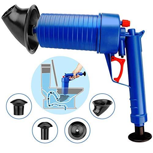 Luftdruck-Abflusspumpe Rohrbaggerwerkzeuge, Druckpumpenreiniger, Hochdruck-Abflussöffner für WC-Badezimmer, Suite zum Ausbaggern von WC-Badewannen-Waschbecken mit 4 Saugern (blau) - Suite Wc
