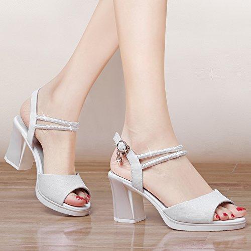 SHOESHAOGE Chaussures Femme Sandales Talon Orteil Fuite Fish Mouth Un Mot Buckle Chaussures À Talons Hauts Chaussures Blanc Couleur unie