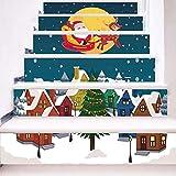 Treppenaufkleber Weihnachten Verkleiden Sich Treppen Aufkleber Antenne Santa Claus Treppen Dekorative Wandaufkleber 18CM*100CM*6 Stück