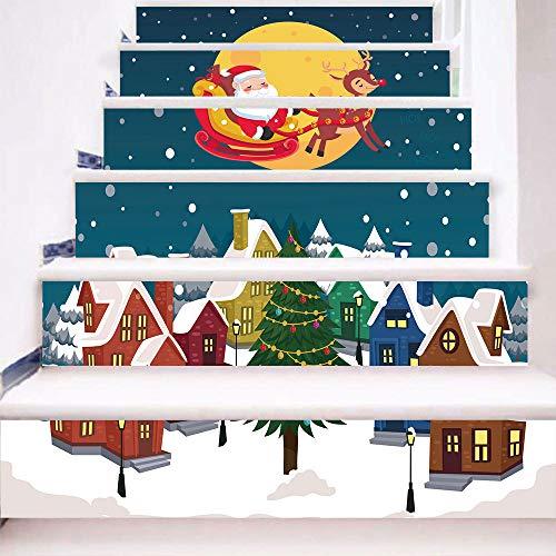 eber 13 Stück Weihnachten Verkleiden Sich Santa Claus DIY Selbstklebende wasserdichte Wandaufkleber 18 * 100cm ()