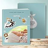 Fotoalbum Baby 1 Jahr, Süße Fracht 28 Seiten, Hardcover 234x296 mm personalisierbar, Grün