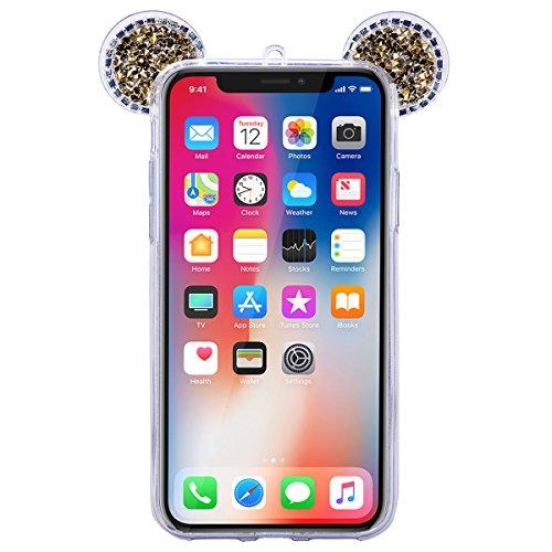 GrandEver iPhone X Hülle Glitzer Weiche Silikon Handyhülle Diamant Maus Ohren Gel Bling TPU Bumper Schutzhülle für iPhone X Rückschale Klar Handytasche Anti-Kratzer Stoßdämpfung Ultra Slim Rückseite S Gold