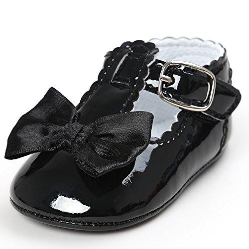 Mingfa.y_Baby shoes , Baby Mädchen Lauflernschuhe, Schwarz - Schwarz - Größe: 6-12 Monate (Größe 6 Baby Schuhe Mädchen)
