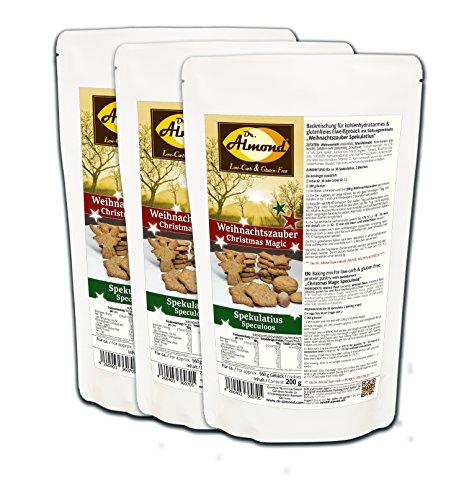 Dr. Almond Plätzchen Backmischung Weihnachtszauber SPEKULATIUS low-carb glutenfrei sojafrei keto (3er Pack) Zuckerfreie Kekse -