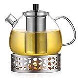 Ecooe 1.5L Teekanne mit Stövchen, Teekanne Glas und Teewärmer Edelstahl