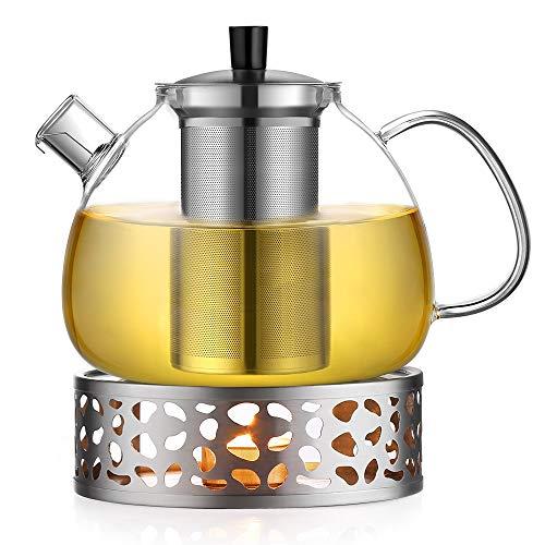 Ecooe 1.5L Teekanne mit Stövchen, Teekanne Glas und Teewärmer Edelstahl (Gusseisen Teekanne Set Mit 4 Tassen)