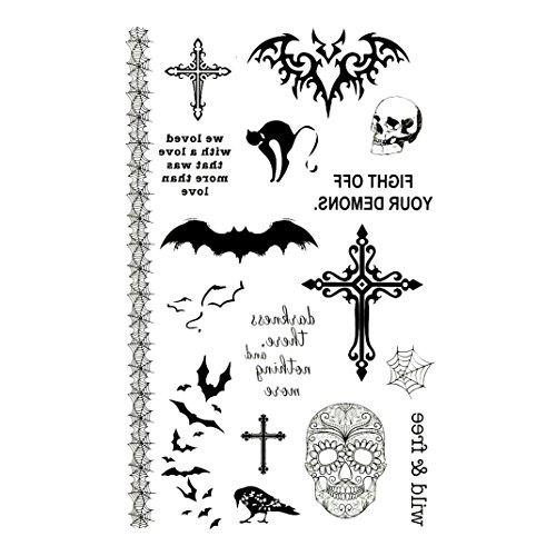 (Oottati Halloween Sortiment Hand Temporäre Tattoo Schädel Kreuz Fledermaus Krähe Katze Spinne Web Horror Wild Und Free Zitat Worte (Set mit 2))
