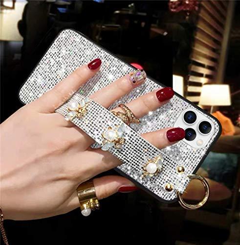 Uposao Kompatibel mit iPhone 11 Pro Hülle Silikon Ultra Dünn Handyhülle 3D Glitzer Diamant Glänzend Strass Kristall Bling Weich TPU Schutzhülle Stoßfest Handytasche Case,Silber