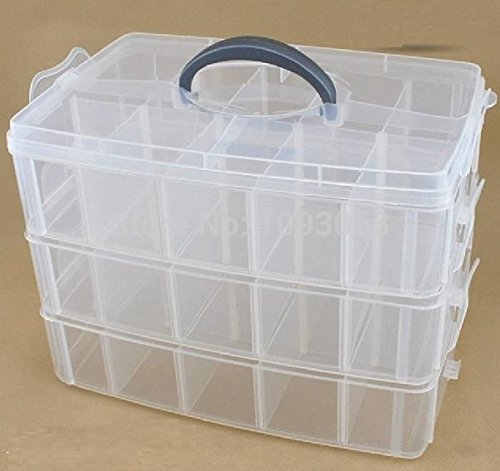 3-stöckige Aufbewahrungsbox aus durchsichtigem Kunststoff, stapelbar von Kurtzy - für die Organisation von Nähfäden, Spulen, Perlen, Beautyzubehör, Nagellack, Schmuck, Kunst- & Handwerkzubehör - 30 Fächer (Aufbewahrungsbox Für Geld)