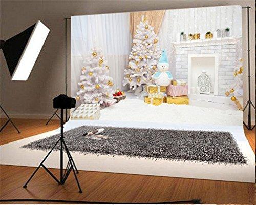 YongFoto 3x2m Vinyl Foto Hintergrund Weihnachten Baum Bälle Geschenke Taschen Kamin Schneemann Vorhang Teppich Innenraum Fotografie Hintergrund für Fotoshooting Portraitfotos Party Kinder Hochzeit Fotostudio Requisiten (Schneemann-teppich)