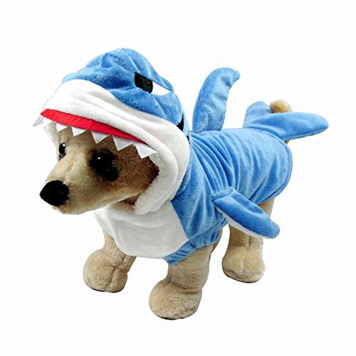 Kostüm Hai Klein Hunde - WORDERFUL Halloween-Kostüm für Hunde und Katzen, Hai, für den Winter, mit Kapuze, für kleine Hunde und Katzen, XS, blau