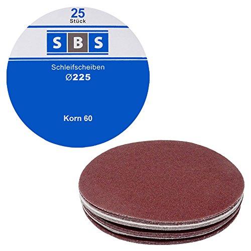 SBS Schleifscheiben Klett-Schleifpapier Ø 225 mm 25 Stück Korn 60