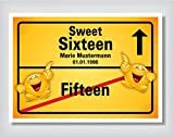 Ortsschild Bild Geschenk Fest Geburtstag personalisiert 16 Sweet Sixteen