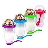 Schramm® 4 Stück Joghurtbecher to go Müsli-to-Go 4- farbig Sortiert Müslibecher inkl. Löffel Müslischale Joghurt Becher Müslibehälter Joguhrtbehälter für unterwegs 4er Pack