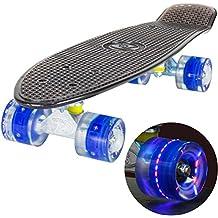 LAND SURFER® Skateboard Cruiser Retro Completo 56cm con Tavola Nera Trasparente - cuscinetti ABEC-7 - Ruote Blu LED che si illuminano 59mm PU + borsa per il trasporto