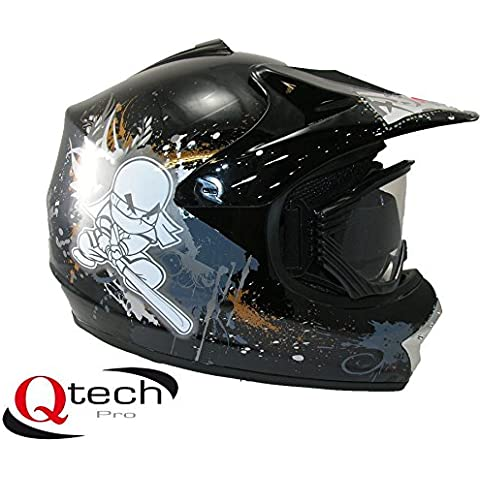Qtech Casco protector con gafas para niños - Para motocross y todoterreno - Negro - XS (51-52 cm)