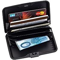 2-TECH–Astuccio per carte di credito, in alluminio, nero, 17,5 cm di lunghezza - 11 cm di larghezza - 2 cm di altezza