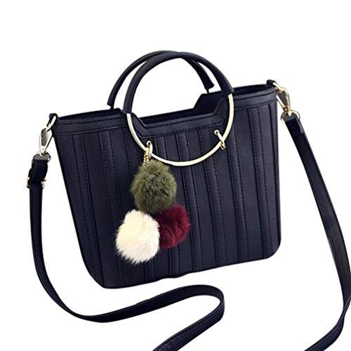 6a84fce250b83 Baymate Frauen PU Leder Handtasche Umhängetasche Tasche Modisch Metall  Griff Schultertaschen Schwarz