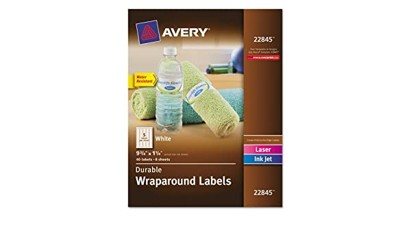 """Pack Of 40 Avery Durable Wraparound Labels 9.75 X 1.25/"""" White New"""