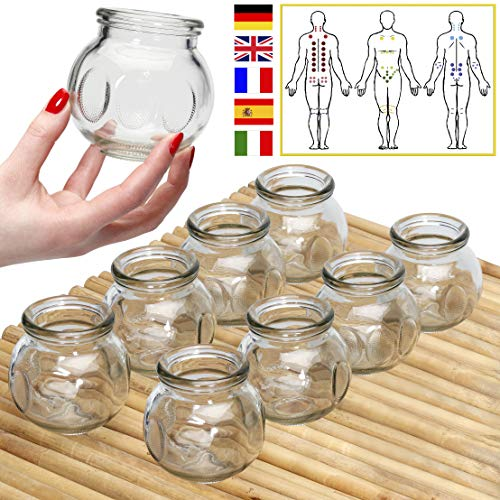 Lunata (Upgrade 2019) 8X Fire Suctions Cups, Anti Cellulite Vacuum Cups,  Massage Glass, Fire Cupping for a Professional Massage