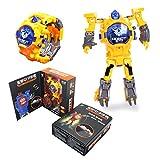 ZJL220 Cartoon Robot Sports Kids Relojes Transformación Electrónica Game Boy Regalos Juguetes Amarillo