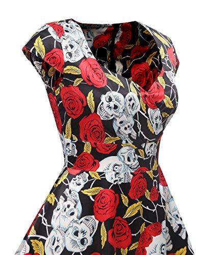 Bbonlinedress 1950er Vintage Retro Cocktailkleid Rockabilly V-Ausschnitt Faltenrock Black Skull