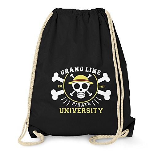 TEXLAB - Grand Line Pirates University - Turnbeutel, schwarz (Cruise Lines Top)